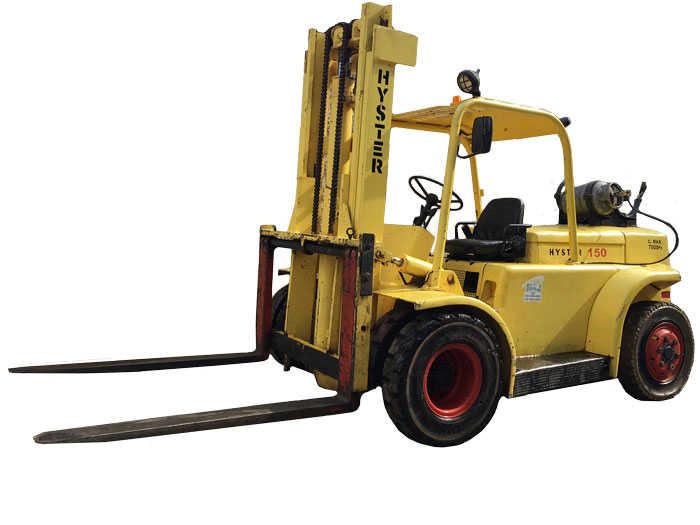 Empilhadeira HYSTER H150J,capacidade 7 Ton, torre duplex 3.3 00mm, movida a gás.